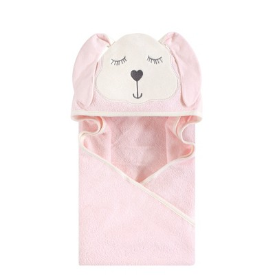 Hudson Baby Infant Girl Cotton Animal Face Hooded Towel, Modern Bunny, One Size