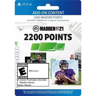 Madden NFL 21: 2200 Madden Points - PlayStation 4/5 (Digital)