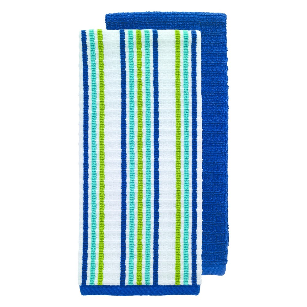 "Image of ""2pk Blue Solid & Stripe Waffle Terry Kitchen Towel (16""""x28"""") - T-Fal"""