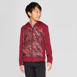 Boys' Printed Tech Fleece Full Zip Hoodie - C9 Champion® Burgundy Crater Print L