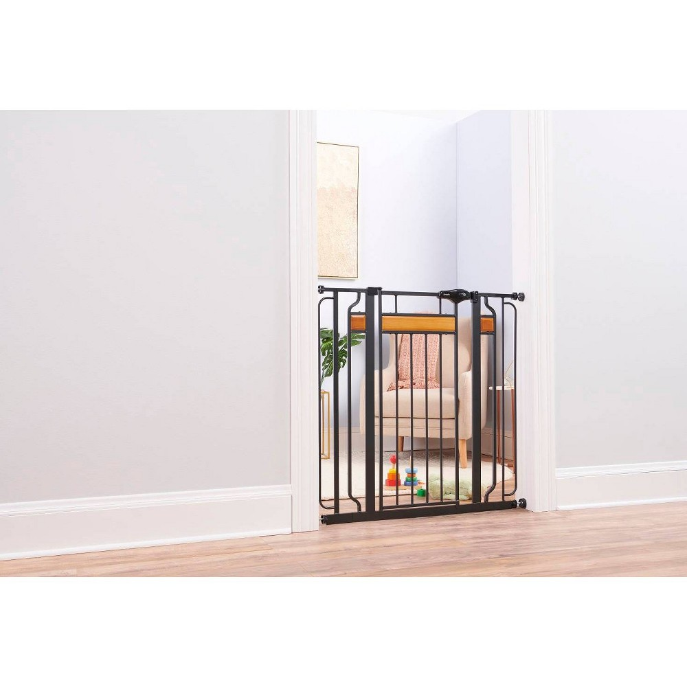 Image of Regalo Extra Tall Home Accents Metal Walk -Through Baby Gate, Black