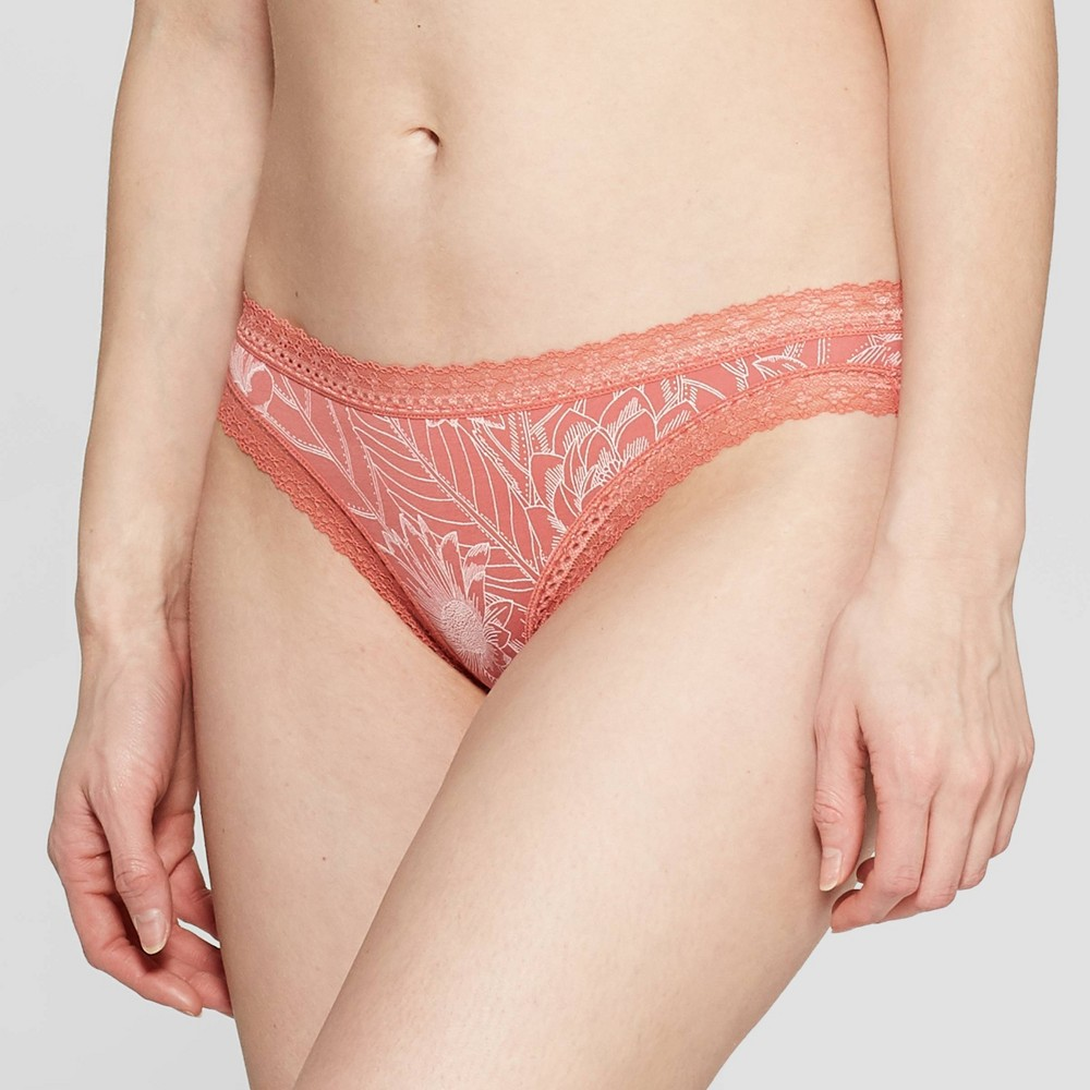 Women's Cotton Bikini with Lace - Auden Faded Rose Line Floral M