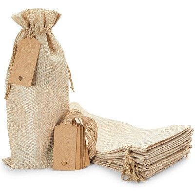 """Sparkle and Bash 12-Pack Burlap Wine Bags with Drawstring & Tags, Party Favor Reusable Bottle Cover, 14"""" x 6"""""""