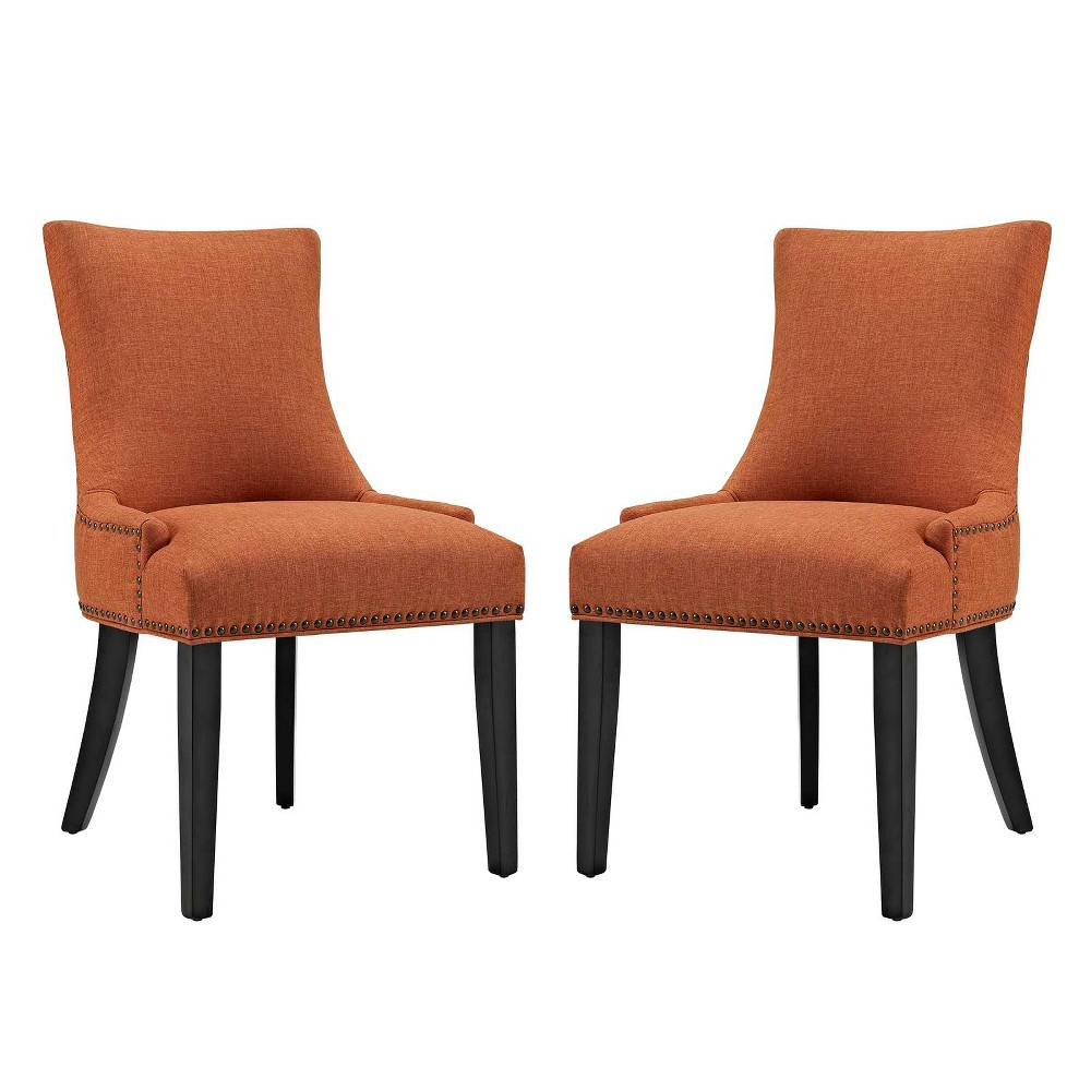 Marquis Dining Side Chair Fabric Set of 2 Orange - Modway