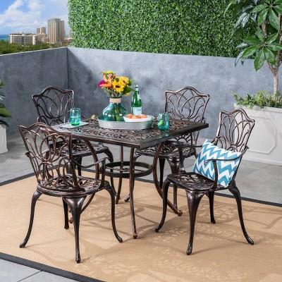 5pc Tucson Cast Aluminum Square Patio Dining Set Copper - Christopher Knight Home