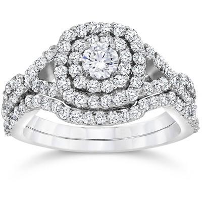 Pompeii3 1 1/10ct Cushion Diamond Halo Engagement Ring Set 10K White Gold
