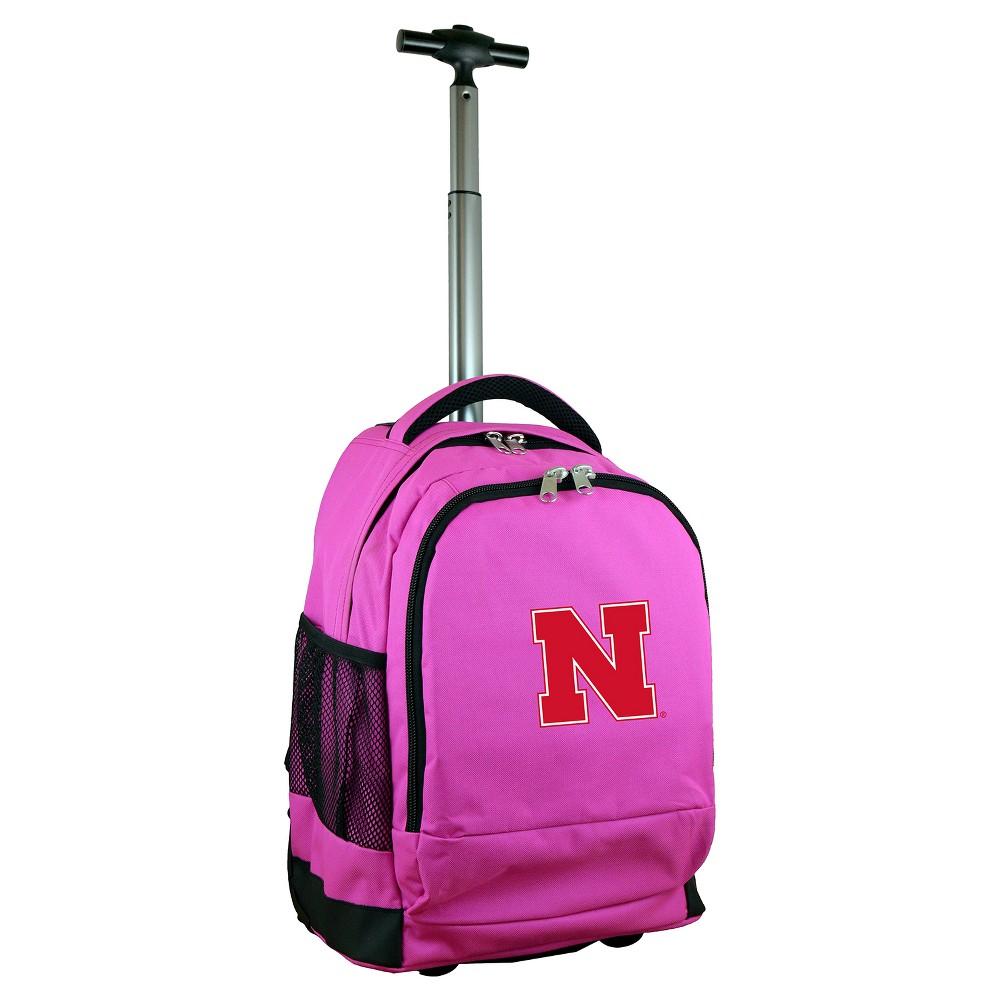 NCAA Nebraska Cornhuskers Pink Premium Wheeled Backpack