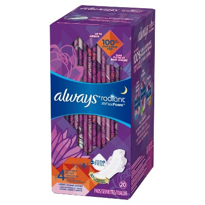 Always Radiant Pads Overnight Absorbency - Scented - Size 4 - 20ct