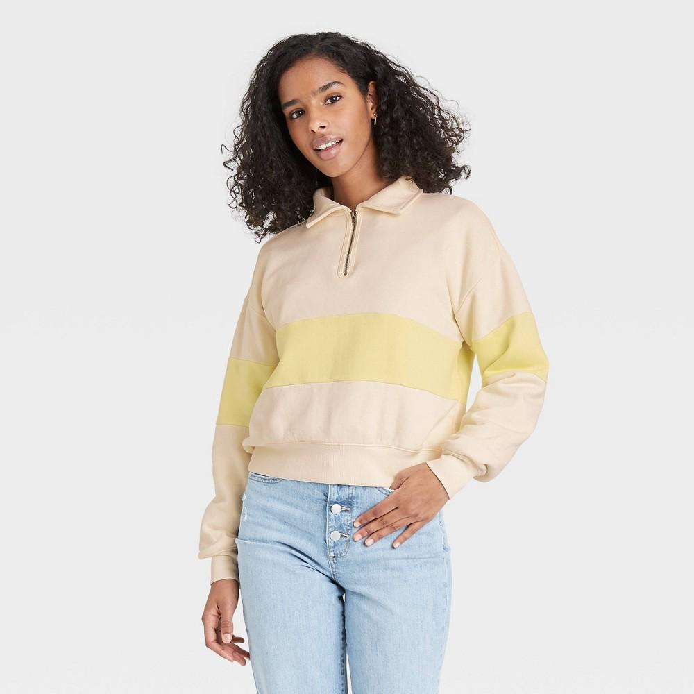 Women 39 S Striped Quarter Zip Up Pullover Sweatshirt Universal Thread 8482 Lemon Drop Yellow Xl
