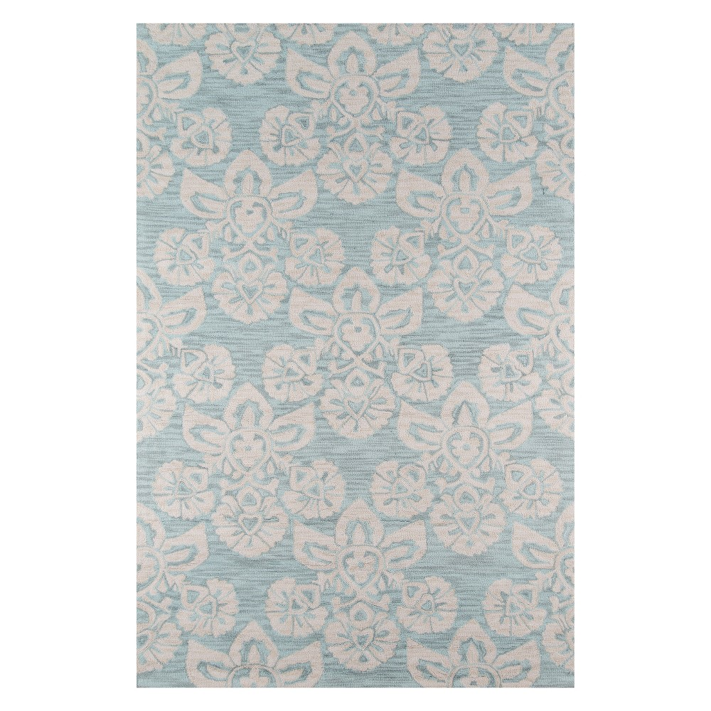 2'X3' Floral Hooked Accent Rug Light Blue - Momeni