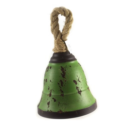 """Home Decor 12.0"""" 12.00 Inch Green Metal Bell Decorate Tin Christmas Holiday  -  Decorative Figurines"""