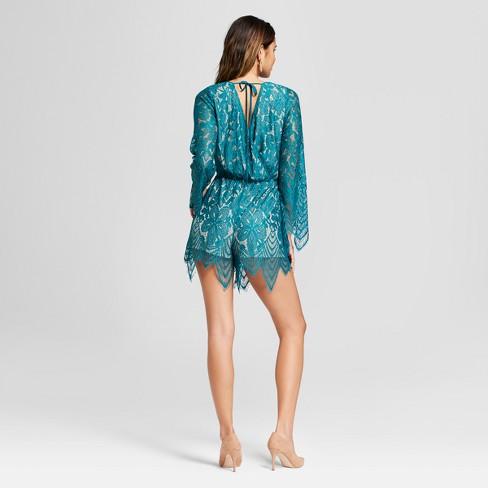 a3ee1d3ddd85 Women s Lace Tie Back Long Sleeve Romper - Xhilaration™ Teal S   Target