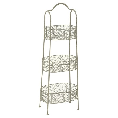 "41"" 3 Tier Rustic Farmhouse Iron Basket Stand - Olivia & May"