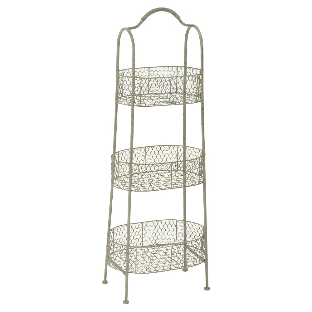 Farmhouse Rustic Iron 3-Tiered Basket Stand (41) - Olivia & May, Light Milk White