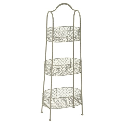 "Farmhouse Rustic Iron 3-Tiered Basket Stand (41"") - Olivia & May - image 1 of 2"