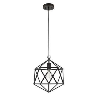 "12.5"" Metal Geometric Open Cage Mini Pendant Black - Cresswell Lighting"
