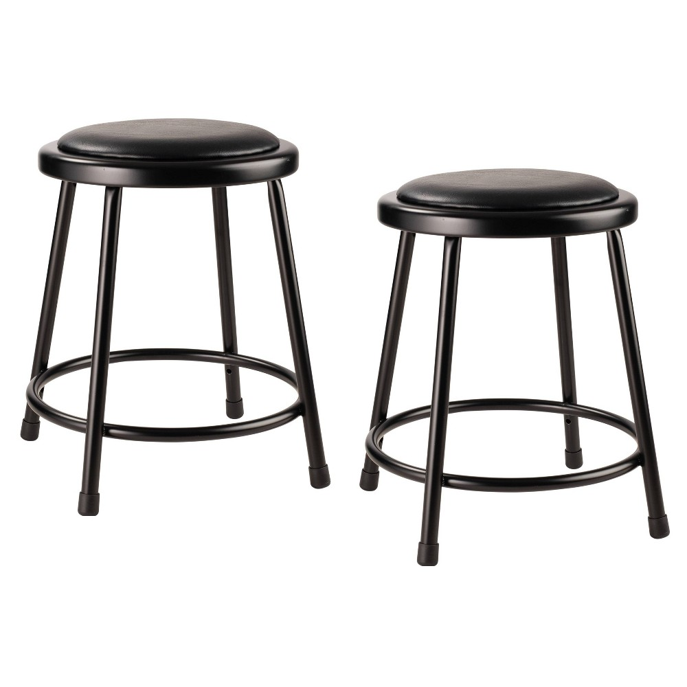 "Image of ""2pk 18"""" Heavy Duty Vinyl Padded Steel Stool Black - Hampton Collection"""