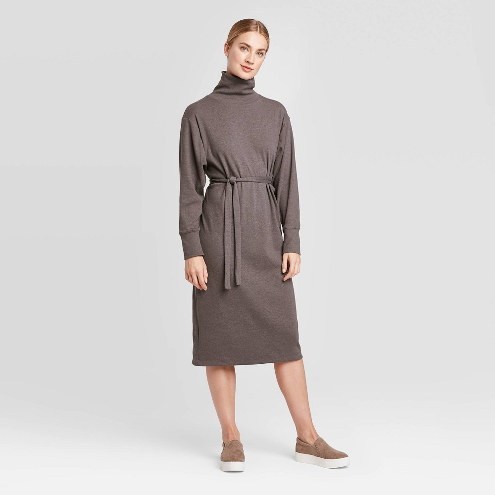 Women's Long Sleeve Mock Turtleneck T-Shirt Midi Dress - Prologue Heather Purple S, Red was $32.99 now $23.09 (30.0% off)