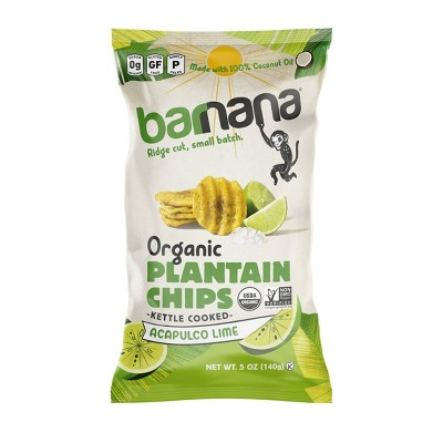 Barnana Kettle Cooked Organic Plantain Chips Acapulco Lime - 5oz