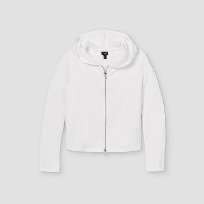Girls' Rib-Knit 2 Way Zip-Up Hoodie Sweatshirt - art class™