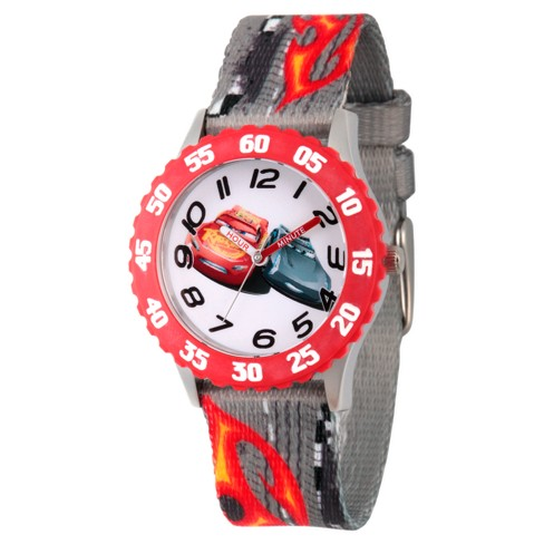 Boys' Disney Cars 3 Lightning Mcqueen And Jackson Storm Stainless Steel Time Teacher Watch - Gray - image 1 of 2