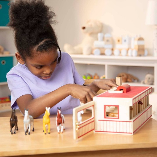 Melissa & Doug Take-Along Show-Horse Stable Play Set With Wooden Stable Box and 8 Toy Horses image number null