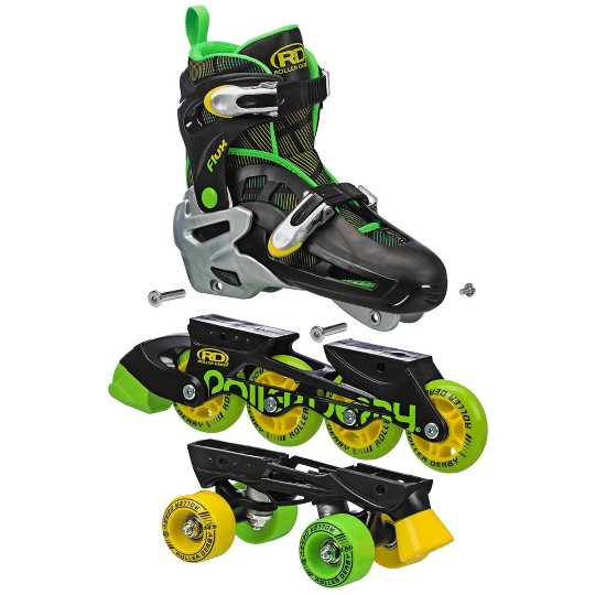 Roller Derby Flux Boys Inline/Roller Combo Skate - Black/Green/Yellow - Small (12-2), Boy's, Yellow Green Black image number null