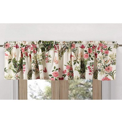 Greenland Home Fashions Butterflies High Quality Ready Made Polyester Fabric Window Curtain Valance - 84 x 14, Multicolored