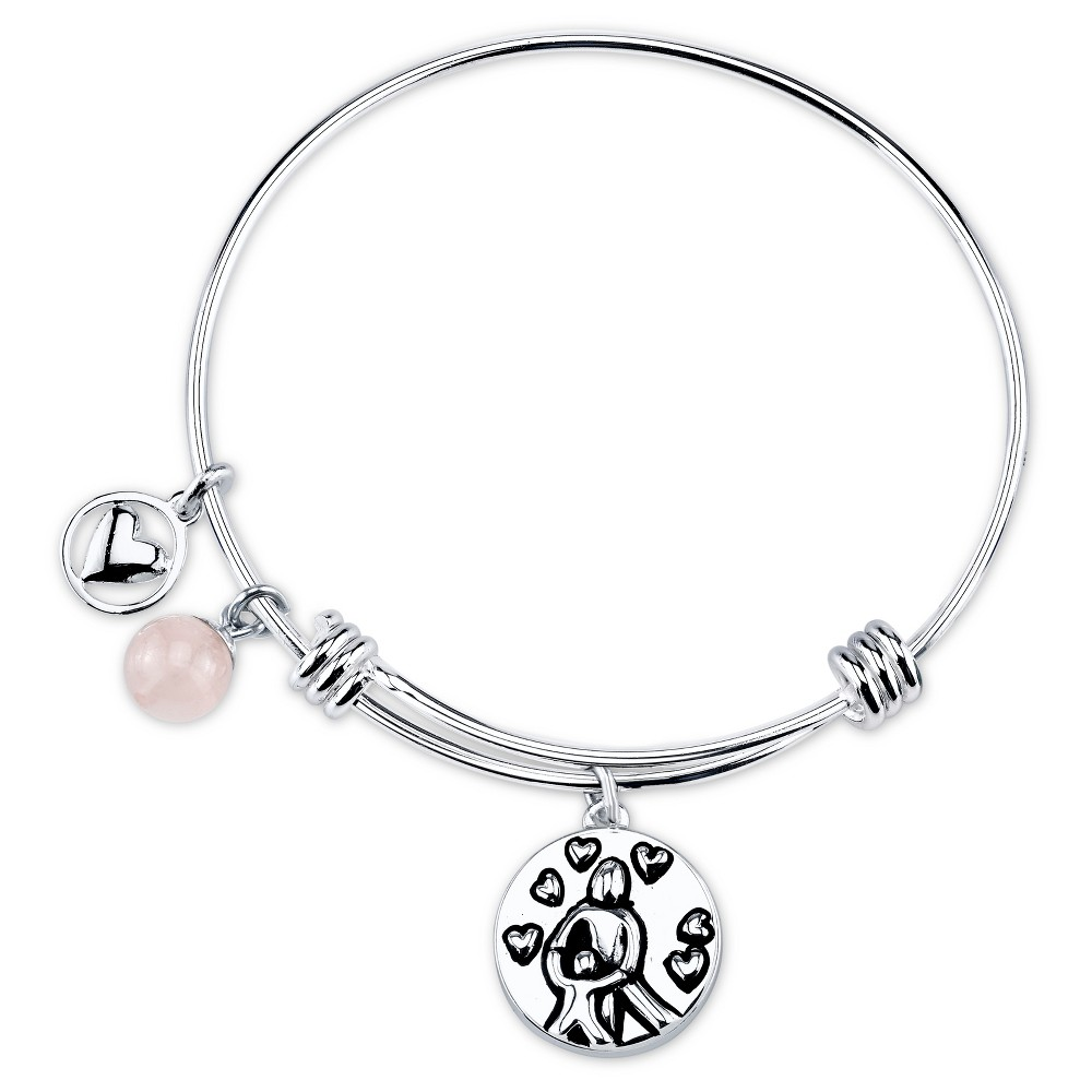 Women's Stainless Steel Mother and Child Expandable Bracelet - Silver (8)