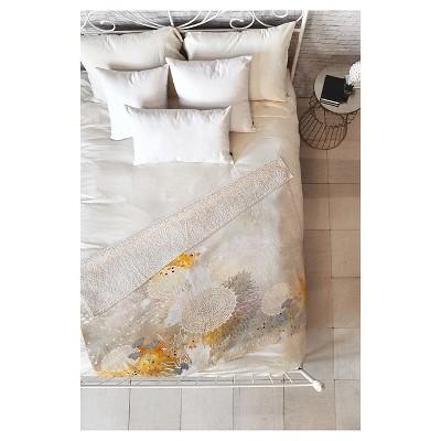 "Yellow Nature Iveta Abolina White Velvet Sherpa Throw Blanket (50""X60"") - Deny Designs"