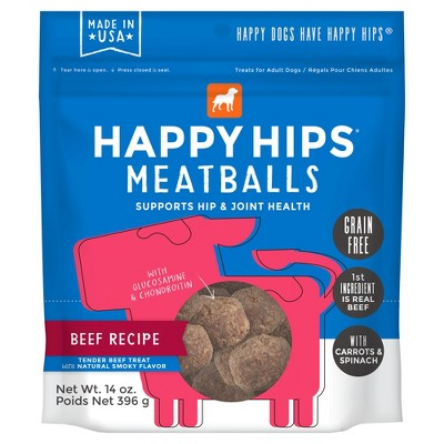 Happy Hips Meatballs Grain-Free Beef Dog Treats - 14oz
