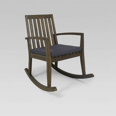 Montrose Acacia Wood Patio Rocking Chair Gray - Christopher Knight Home