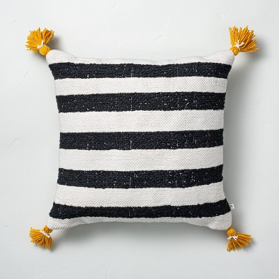 """18"""" x 18"""" Cabana Stripes Indoor/Outdoor Throw Pillow Black/Yellow - Hearth & Hand™ with Magnolia"""