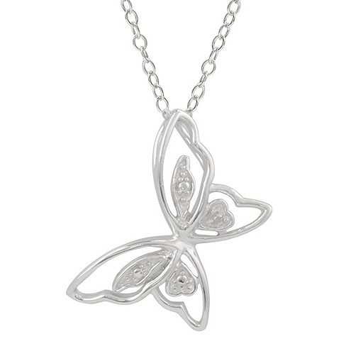 1/10 CT. T.W. Round-cut Diamond Pave-set High Polished Butterfly Necklace in Sterling Silver - Silver - image 1 of 2