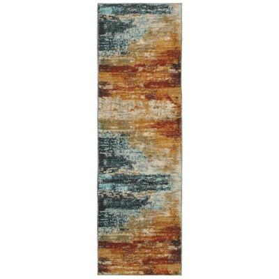"2'3""x7'6"" San Blas Abstract Rug Blue/Red"