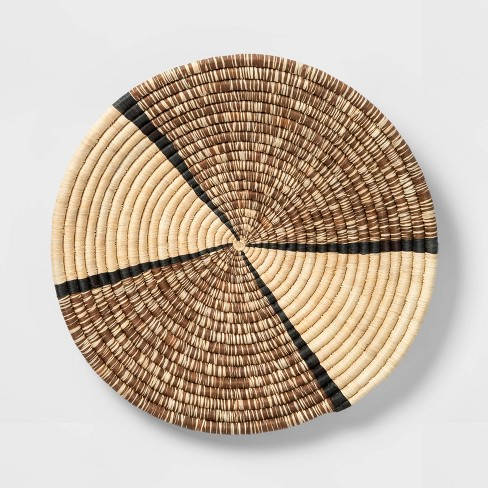 """15"""" Decorative Round Raffia Wall Plate Art Natural - All Across Africa - image 1 of 3"""