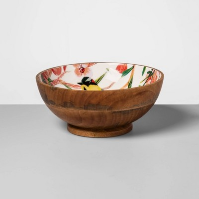 64oz Mango Wood Bird Print Serving Bowl - Opalhouse™