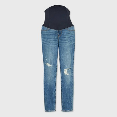 Low-Rise Crossover Panel Distressed Skinny Maternity Jeans - Isabel Maternity by Ingrid & Isabel™ Medium Blue