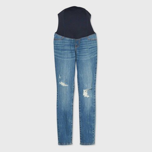 Low-Rise Crossover Panel Distressed Skinny Maternity Jeans - Isabel Maternity by Ingrid & Isabel™ Medium Blue - image 1 of 2