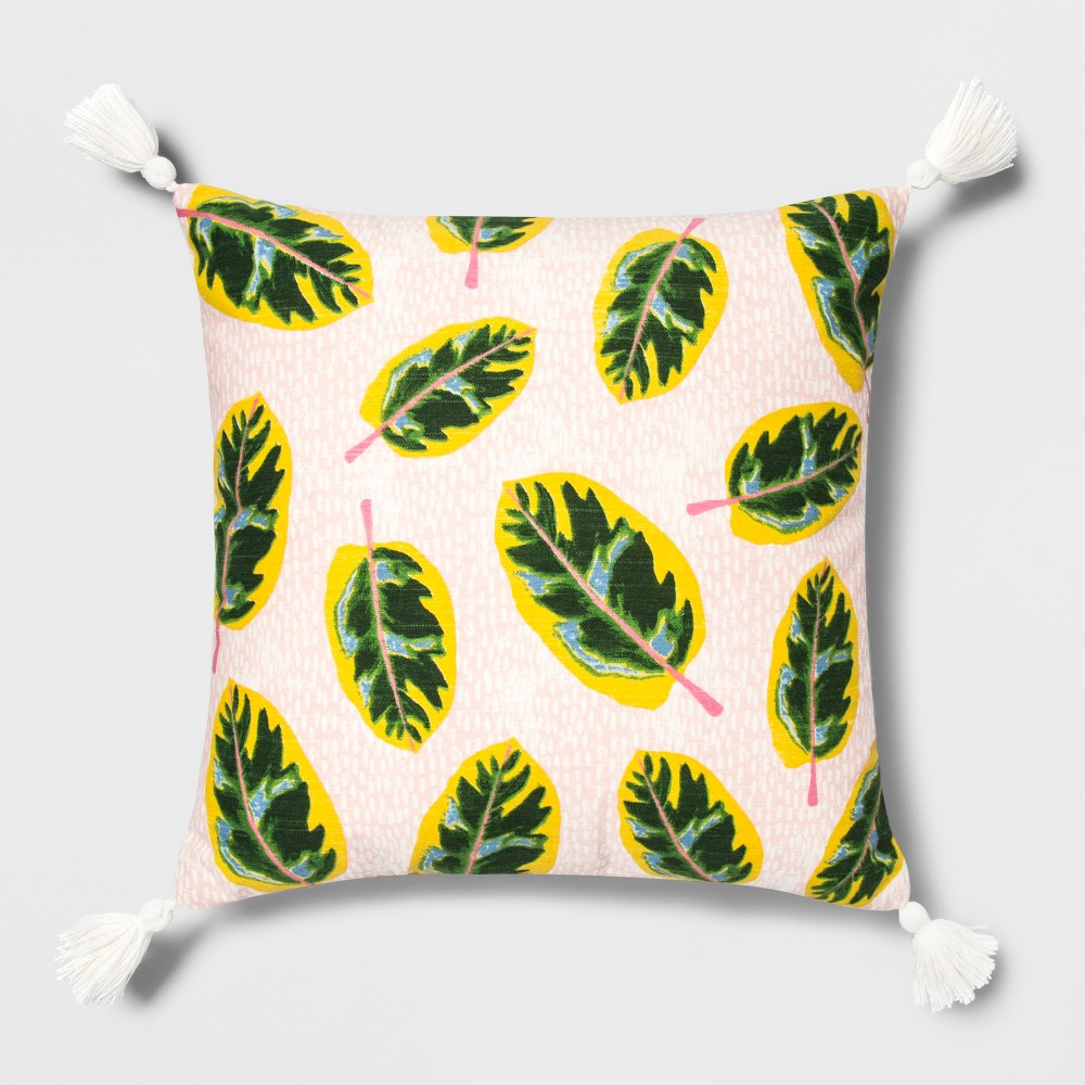 Sensational Palm Leaves Print Square Throw Pillow Opalhouse Pink Ocoug Best Dining Table And Chair Ideas Images Ocougorg