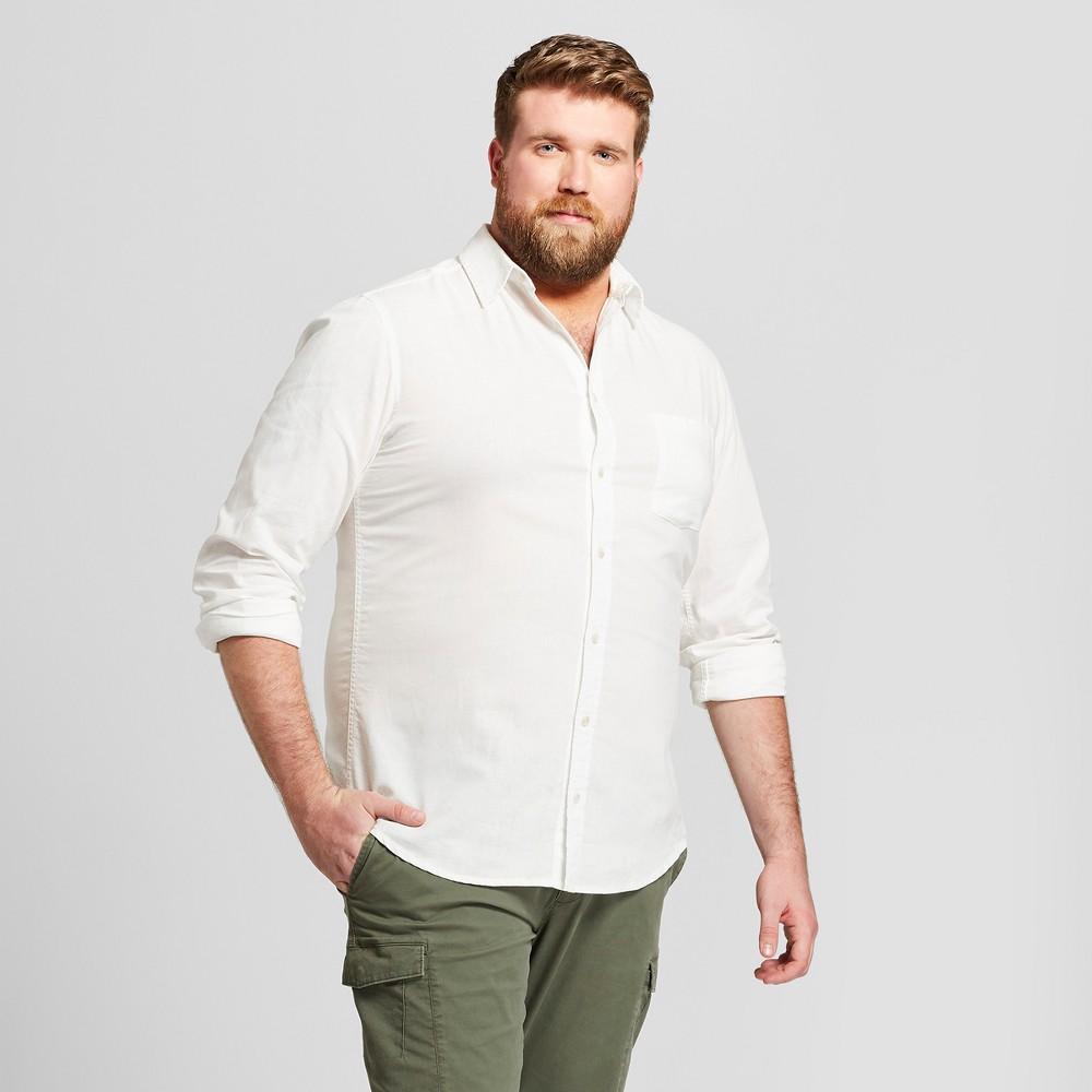 Men's Tall Standard Fit Linen Cotton Long Sleeve Button-Down Shirt - Goodfellow & Co White Xlt