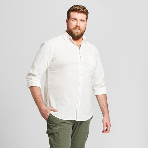 ae9bf6aed0c8 Men s Big   Tall Standard Fit Long Sleeve Linen Cotton Button-Down Shirt -  Goodfellow   Co™   Target