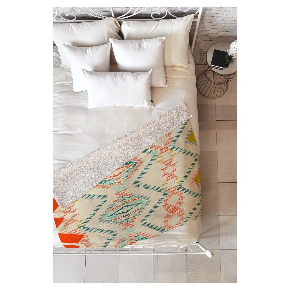 Orange Geometric Pattern State Marker Southwest Sherpa Throw Blanket (50