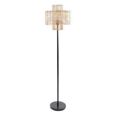 "64"" Cyndi Rattan Silverwood Floor Lamp (Includes LED Light Bulb) Black/Tan - Decor Therapy"