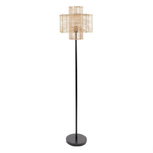 "64"" Cyndi Rattan Silverwood Floor Lamp (Includes LED Light Bulb) Black/Tan - Decor Therapy - image 1 of 3"