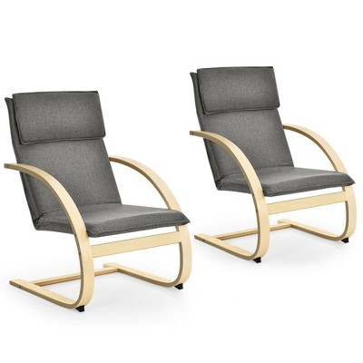 Costway Set of 2 Bentwood Lounge Chair Fabric Upholstered Accent Leisure Armchair Gray