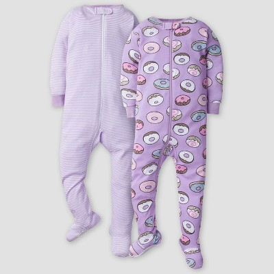 Gerber Baby Girls' 2pk Donuts Long Sleeve Footed Unionsuit - Purple 6M
