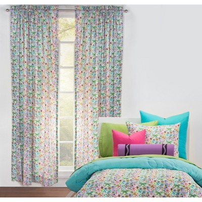 "50""x84"" Butterfly Garden Single Rod Pocket Curtain Panel - Crayola"