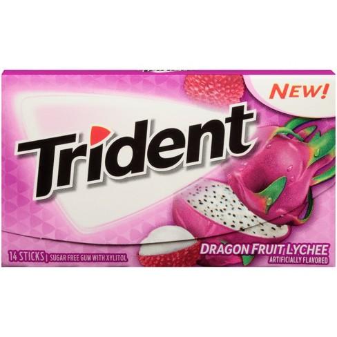 Trident Dragon Fruit Lychee Sugar Free Gum 14ct Target