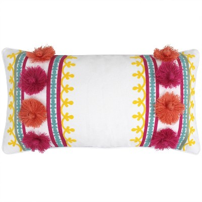 Leora Pom Embroidered Decorative Throw Pillow Multi - Homthreads